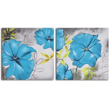 2 Piece ''Poppy Blues'' Hand Painted Canvas Set