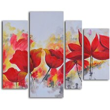 'Enflamed Red Petals' 4 Piece Original Painting on Canvas Set