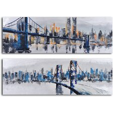2 Piece ''City Suspensions'' Hand Painted Canvas Set