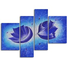 <strong>My Art Outlet</strong> 4 Piece ''Violet Floral Fantasy'' Hand Painted Oil Painting Set