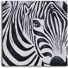 <strong>My Art Outlet</strong> ''Zebra Perspective'' Hand Painted Canvas Art