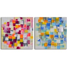 Spotted through Colored Glasses 2 Piece Original Painting on Canvas Set