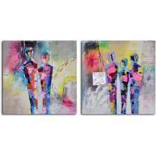 'Kaleidoscope Figurines' 2 Piece Original Painting on Canvas Set