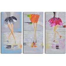 'Fancy Feet Trio' 3 Piece Original Painting on Canvas Set