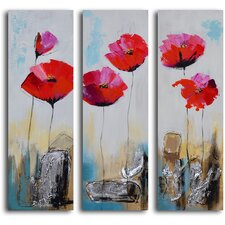 3 Piece ''Poppy Rocks'' Hand Painted Canvas Set