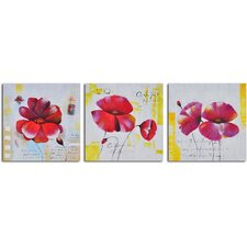 <strong>My Art Outlet</strong> 3 Piece ''Floral Notes'' Hand Painted Canvas Set