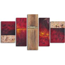 <strong>My Art Outlet</strong> 5 Piece ''Francophile Wall Panels'' Hand Painted Oil Painting Set