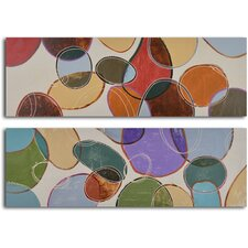 2 Piece ''Colored Cells at Play'' Hand Painted Canvas Set