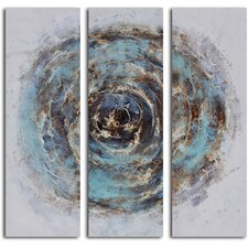 'Marble Blue Chasm' 3 Piece Original Painting on Canvas Set