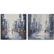 2 Piece ''City Puddles Scape'' Hand Painted Canvas Set