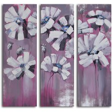 3 Piece ''Snowy Petals on Pink'' Hand Painted Canvas Set