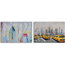 2 Piece ''Penthouse Seclusion'' Hand Painted Canvas Set