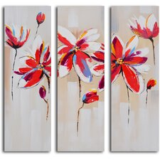 3 Piece ''Dalliance of Red Floral'' Hand Painted Canvas Set