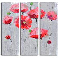 'Pirouetting Poppies in Space' 3 Piece Original Painting on Canvas Set