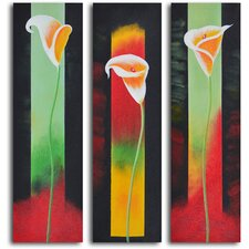 3 Piece ''Upstaged Lilies'' Hand Painted Oil Painting Set