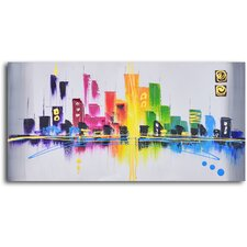 ''Rainbow City Scape'' Hand Painted Oil Painting