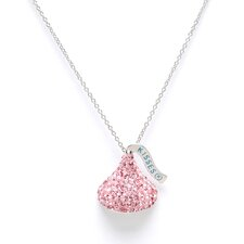 <strong>Hershey's Kiss</strong> Sterling silver & Pink Crystals Medium Flat Back Chocolate's Kiss Pendant