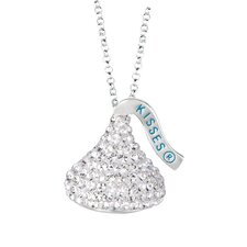 Sterling silver & White Crystals Medium Flat Back Chocolate's Kiss Pendant