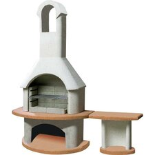 Carmen Masonry Barbecue Fireplace with Side Table