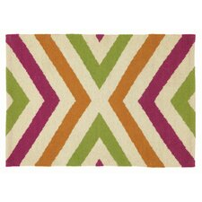 Fuchsia Tan Chevron Area Rug