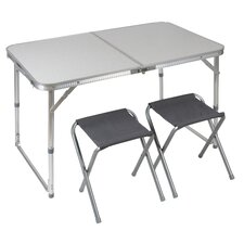 Rectangular Aluminium Camping Table with 2 Stools