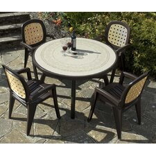Colosseo 120cm Ravenna Table with Lesena Rattan Chairs in Coffee