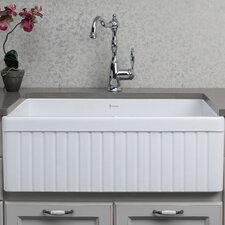 "32.75"" x 19.88"" Double Bowl Fluted Farmhouse Kitchen Sink"