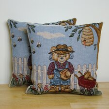 Beekeeper Bear Pillow (Set of 2)