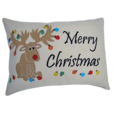 Merry Christmas Moose Applique Pillow