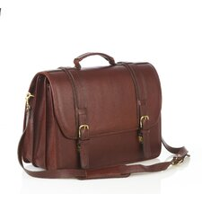 Leather Briefcase with Triple Compartments and Laptop Case