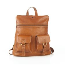 Leather Backpack with Top Zipper and Two Front Pockets
