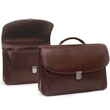 Double Compartment Briefcase with Gusseted Front Pockets