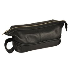 Men's Leather Toiletry Case with Metal Frame