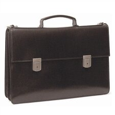 Double Compartment Briefcase with Two Clasps