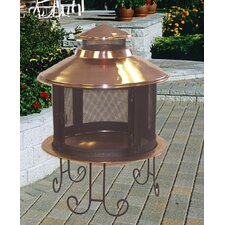 Small Solid Copper Pagoda Fireplace