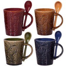 Montclair 10 oz. Mug and Spoon (Set of 4)