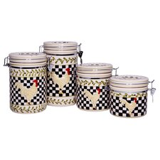 4 Piece Rooster Canister Set (Set of 4)