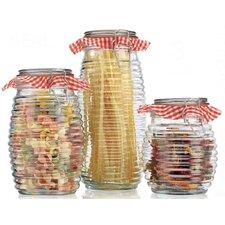 3 Piece Ribbed Bail Jar Set (Set of 3)
