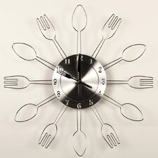 "15"" Flat Utensil Wall Clock"
