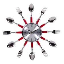 "14"" Red Utensil Wall Clock"
