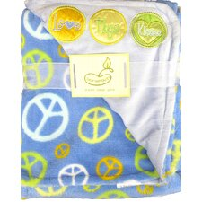 2 Ply Love Hugs Kisses with Peace Signs Crib Throw Blanket