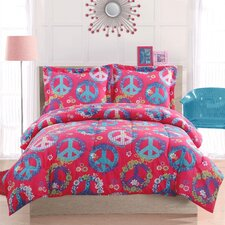 Peace Sign Pink 2 Piece Comforter Set