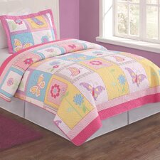 <strong>My World</strong> Flutter of Butterflies 2 Piece Twin Quilt Set