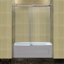Completely Frameless Tub-Height Sliding Shower Door