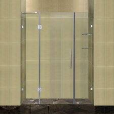 Completely Frameless Hinged Shower Door with Glass Shelves