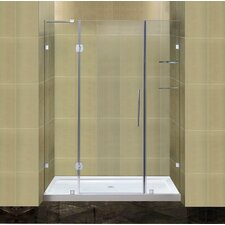 Completely Frameless Hinged Shower Door with Glass Shelves and Low-Profile Base