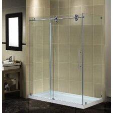 Completely Frameless Sliding Shower Door Enclosure with Low-Profile Base