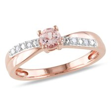 Silver Round Cut Morganite Ring