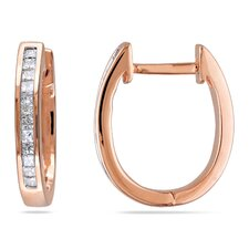 <strong>Amour</strong> Princess Cut Diamond Hoop Earrings