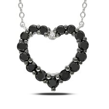 <strong>Amour</strong> Black and White Diamond Heart Pendant